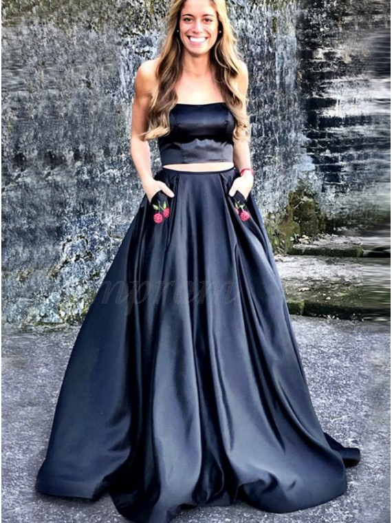 Two Piece Strapless Black Prom Dress with Appliques Pockets