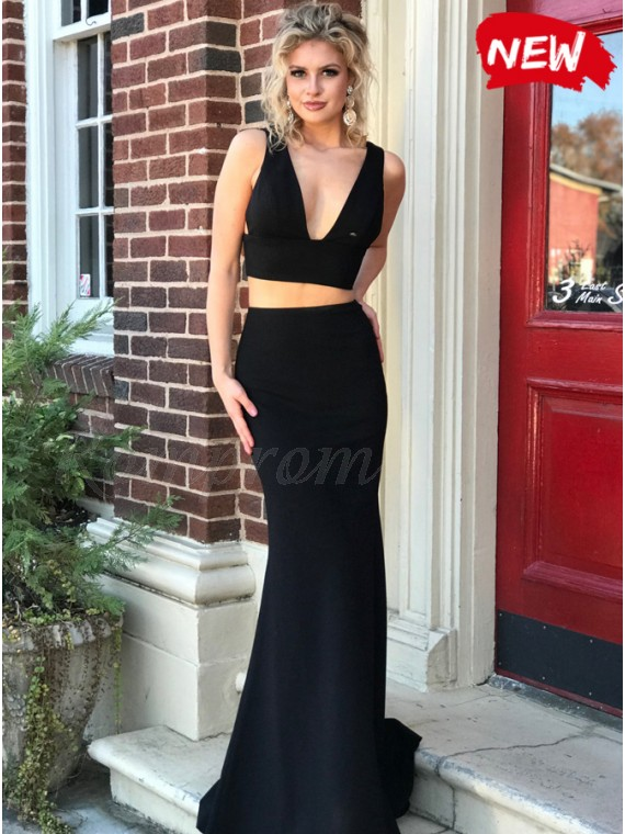 16647e10f511 Two Piece Mermaid V-Neck Lace-Up Sexy Black Prom Dress - $99.69 only ...