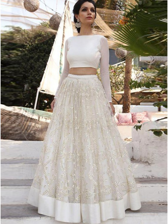 Two Piece Bateau Long Sleeves Simple White Prom Dress with Sequins