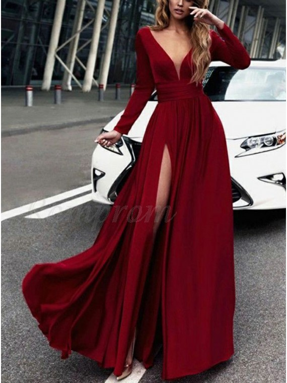 A-Line V-neck Long Sleeves Button Slit Leg Dark Red Prom Dress ...