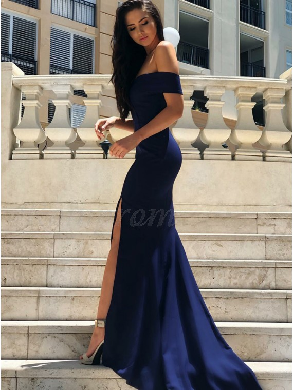Mermaid Off-the-Shoulder Slit Leg Navy Blue Prom Dress with Train