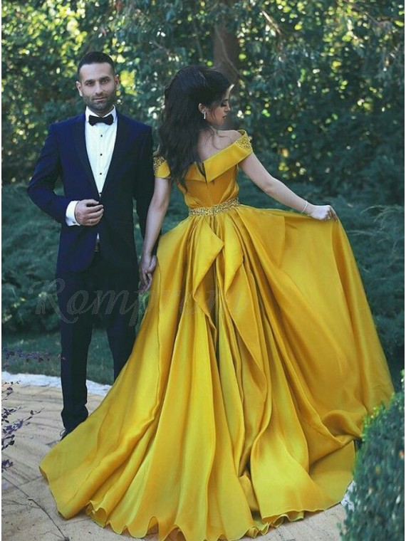 A-Line Off-the-Shoulder Beaded Yellow Prom/Evening Dress with Pleats