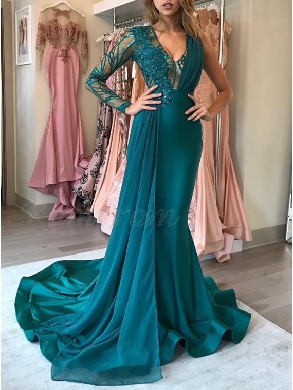 Mermaid V Neck Dark Green Prom Dress With Appliques Ruffles