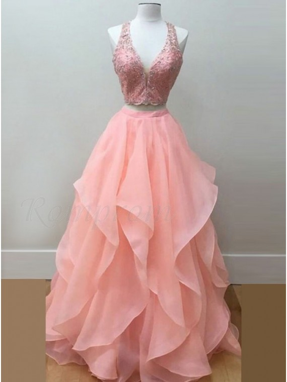 Two Piece Deep V-Neck Pink Beaded Gorgeous Prom Dress with Appliques ...