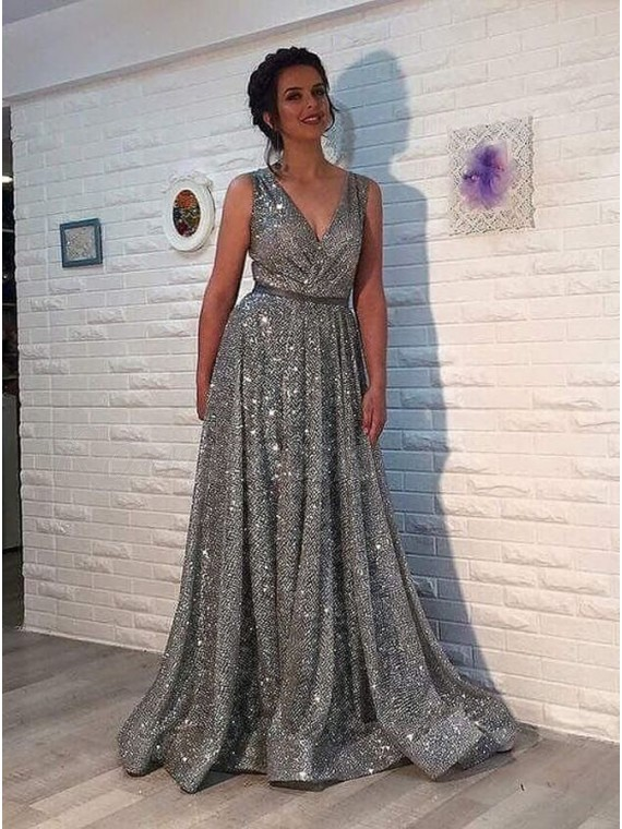 9ac5936dfb4 A-Line Deep V-Neck Sweep Train Grey Sparkle Sequined Prom Dress ...