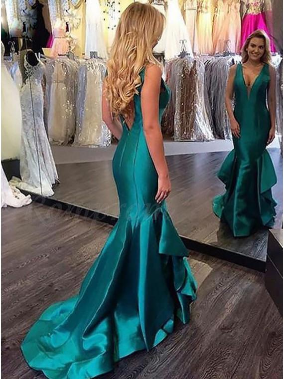 Mermaid Deep V-Neck Backless Dark Green Prom Dress with Ruffles ...
