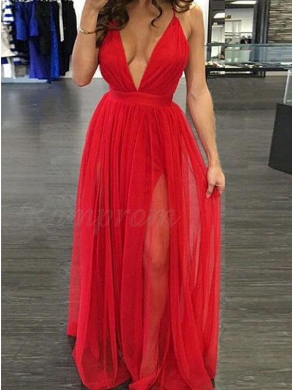 e450c9c7 A-Line Deep V-Neck Criss-Cross Straps Slit Leg Red Prom Dress ...