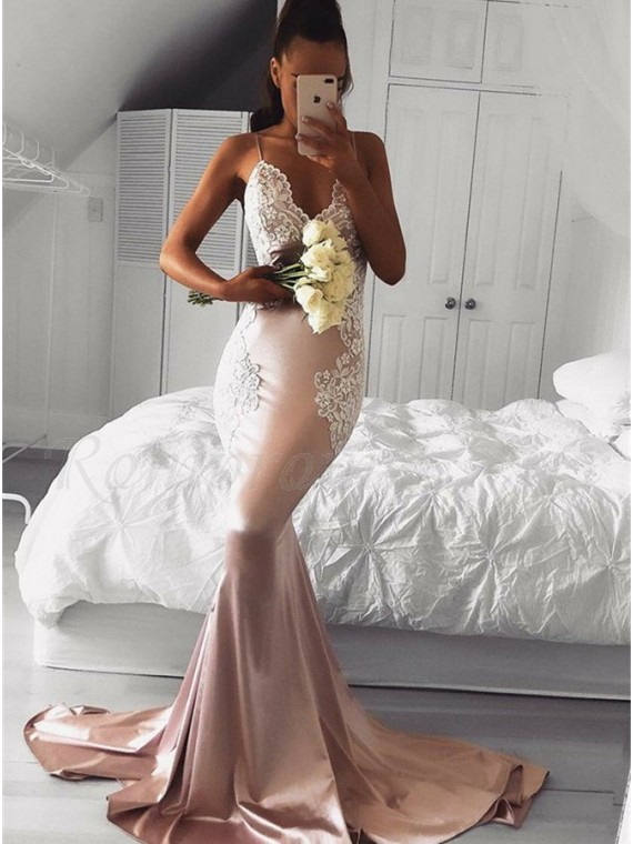 Mermaid Spaghetti Straps Pearl Pink Prom Dress with Appliques