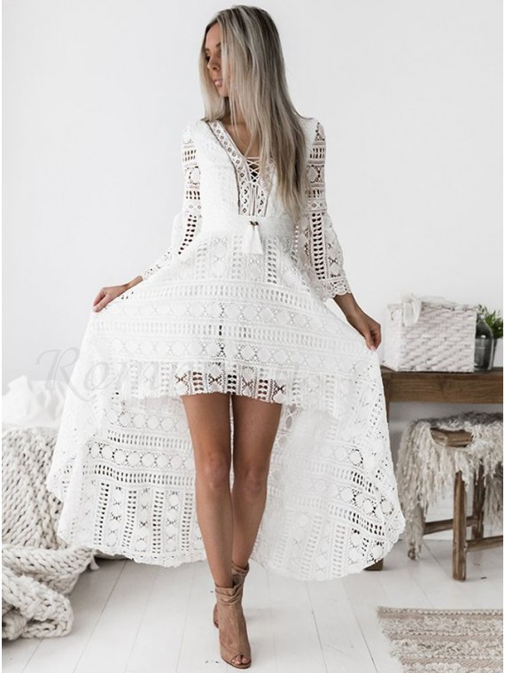 89f4aec369d High Low V-Neck 3 4 Sleeves Short Gorgeous White Lace Prom ...