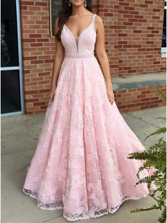 A-Line V-Neck Floor-Length Pink Lace Prom Dress with Beading
