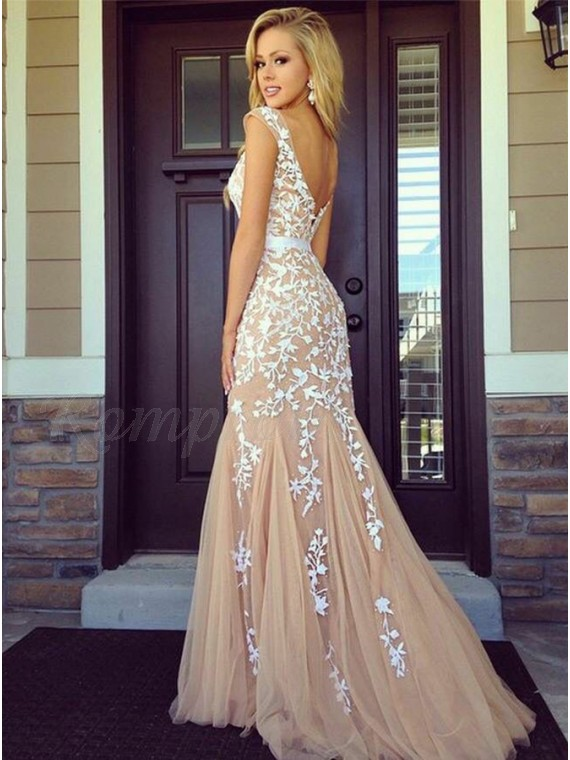 Mermaid Bateau Backless Sweep Train Champagne Prom Dress with Appliques