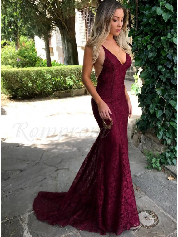 Mermaid Sexy V-Neck Backless Burgundy Lace Prom Dress with Sequins
