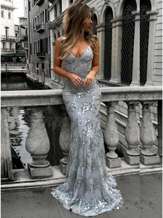 Mermaid Spaghetti Straps Backless Sexy Grey Prom Dress with Sequins