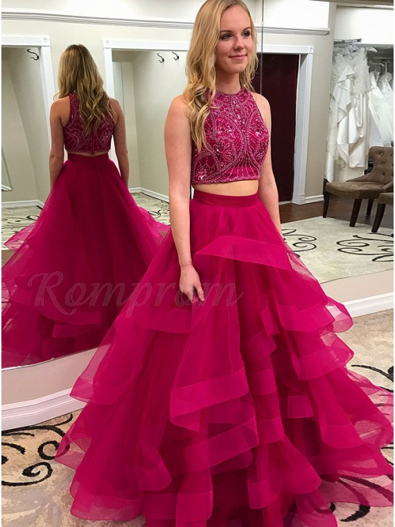 941e40b7647a7 Two Piece Crew Floor-Length Fuchsia Tiered Prom Dress with Beading ...