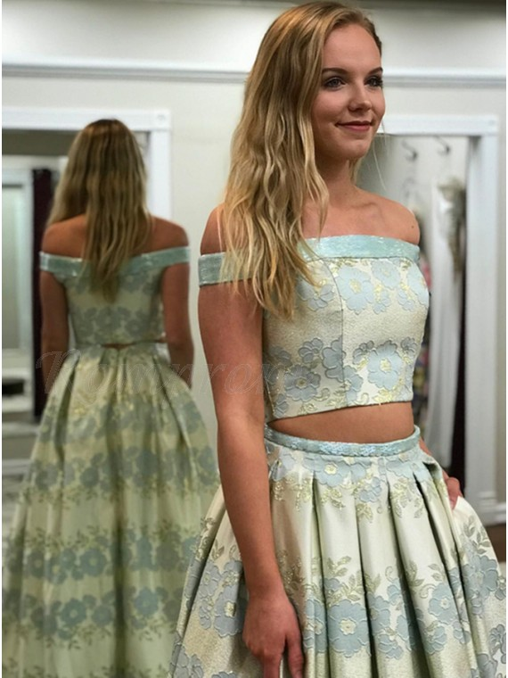 887af77d1727 Two Piece Off-the-Shoulder Mint Printed Prom Dress with Pockets ...