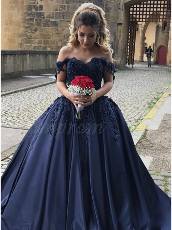 Ball Gown Off-the-Shoulder Navy Blue Beaded Satin Prom Dress with ...