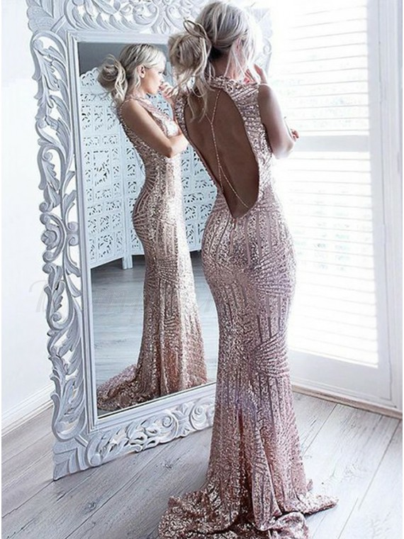 d2fe9a69 Mermaid Jewel Open Back Sweep Train Rose Gold Sequined Prom Dress ...