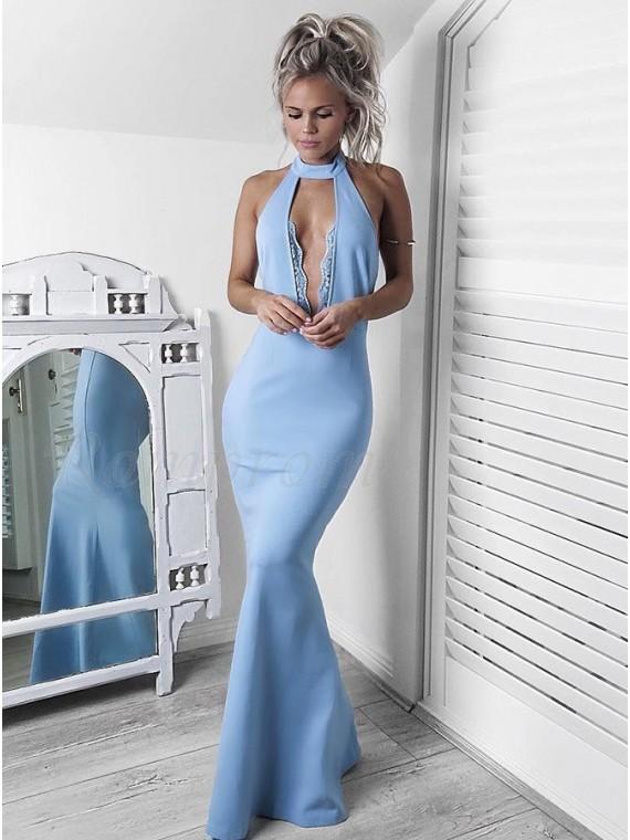 Mermaid Halter Backless Floor-Length Blue Prom Dress with Keyhole