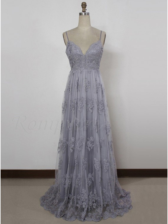 A-Line Spaghetti Straps V-Back Light Grey Prom Dress with Appliques ...