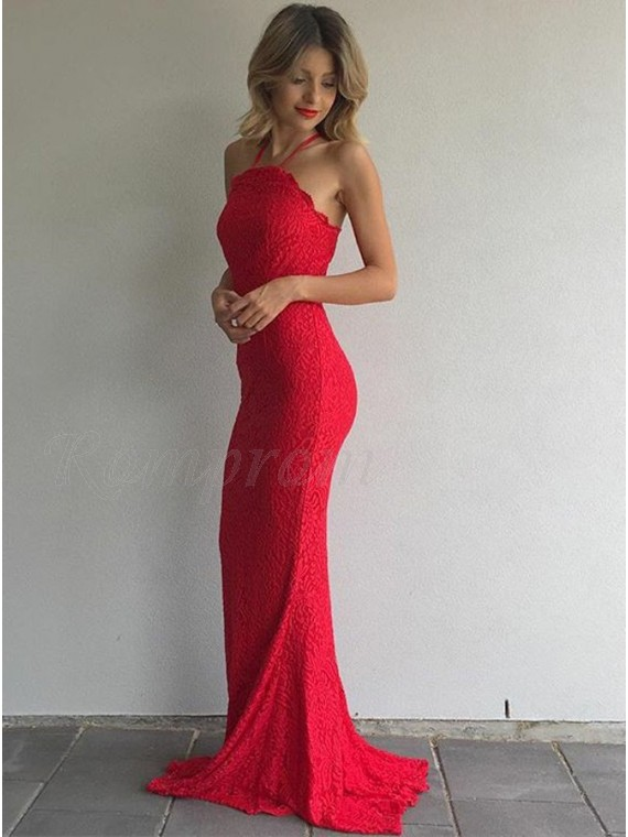 vendite speciali data di rilascio: design innovativo Mermaid Spaghetti Straps Sweep Train Red Lace Prom Dress