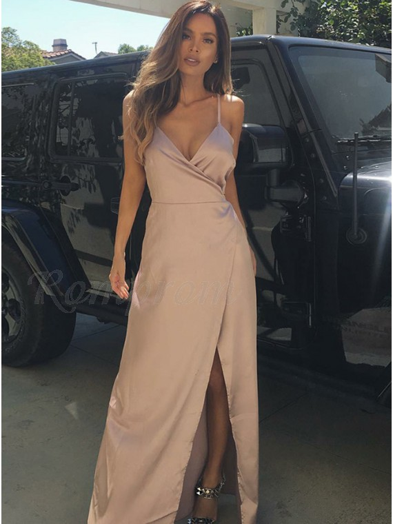 A-line Spaghetti Straps Sleeveless Blush Satin Long Prom Dress with Split