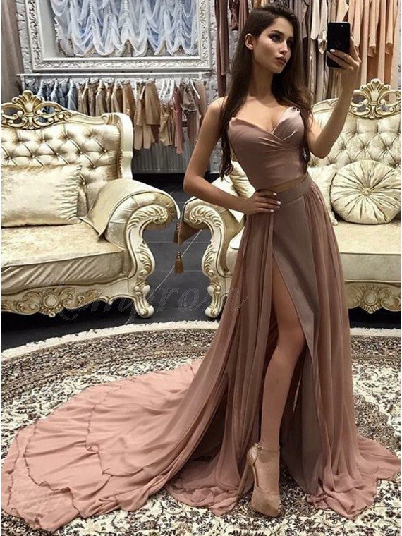 A-line Spaghetti Straps Court Train Chiffon Blush Prom Dress with ...