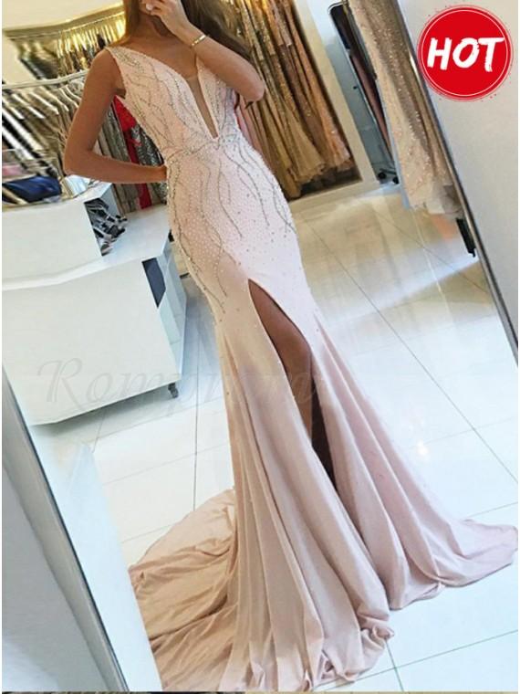Mermaid V-Neck Slit Leg Beaded Pink Chiffon Prom Dress with Sequins