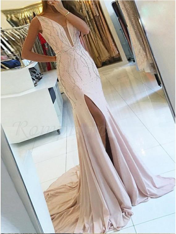 Mermaid V-Neck Slit Leg Beaded Pearl Pink Long Prom Dress