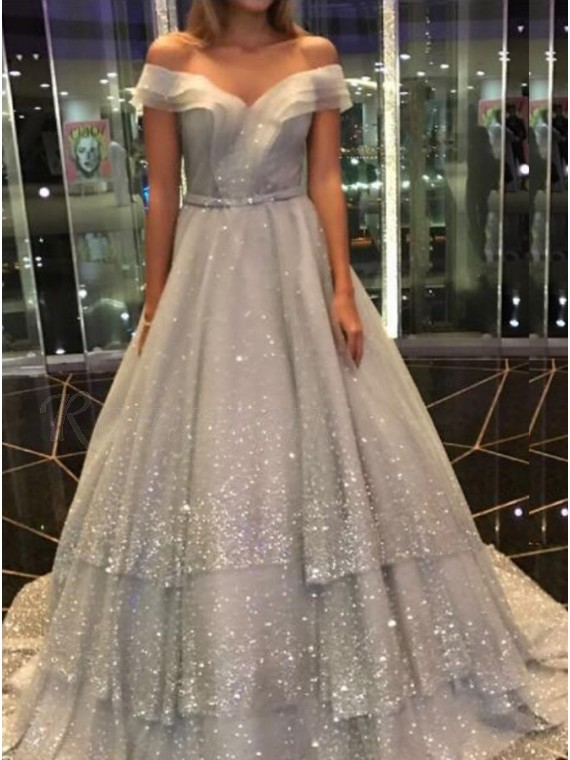 A-line Off-the-Shoulder Tiered Short Sleeves Tulle Grey Prom Dress with Sequins