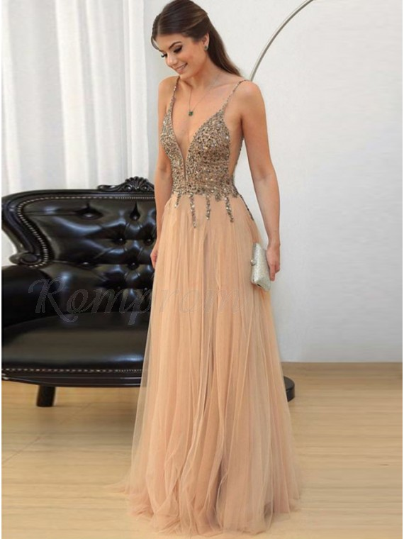 A-Line Spaghetti Straps Backless Champagne Long Prom Dress with Beading Sequins