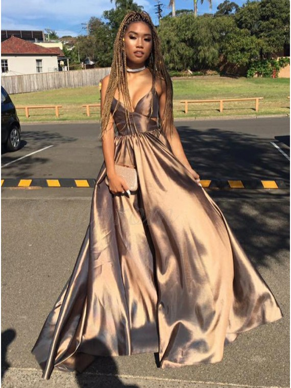 A-Line Spaghetti Straps Sleeveless Brown Satin Prom Dress with Pleats