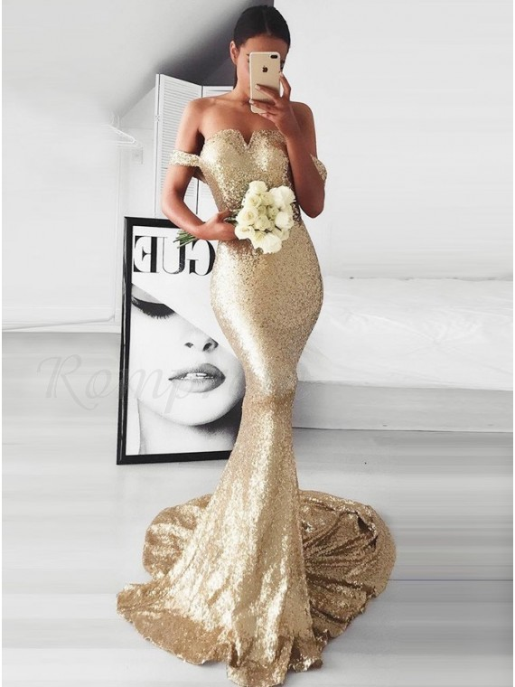 Mermaid Off Shoulder Sweep Train Champagne Sequined Prom Dress