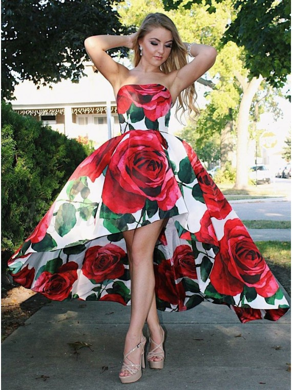 A-Line Strapless Party Dress High Low Floral Long Prom Dress