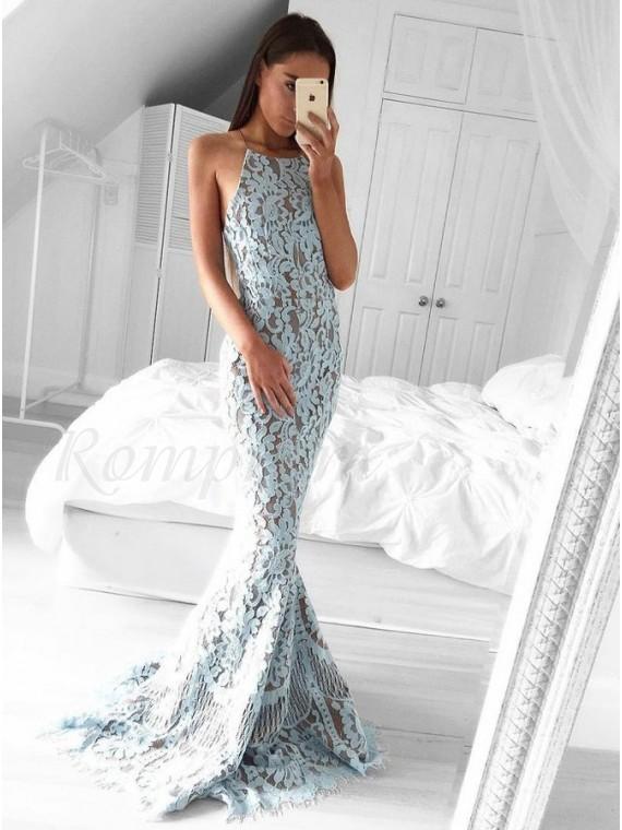 Mermaid Halter Backless Sweep Rain Light Blue Lace Prom Dress
