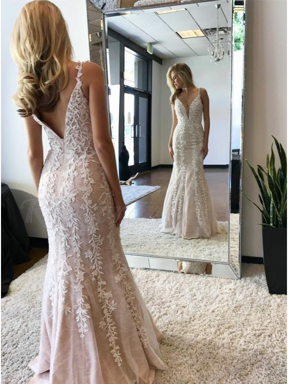 Mermaid V-Neck Backless Floor-Length Ivory Prom Dress with Appliques