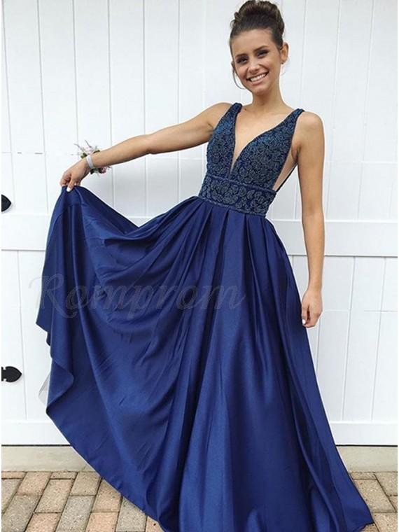 A-Line V-Neck Floor-Length Dark Blue Prom Dress with Appliques