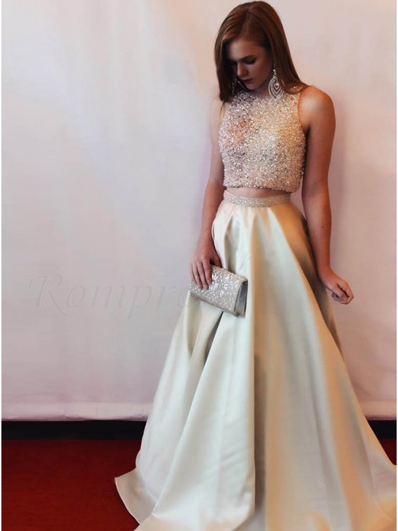 Two Piece Bateau Sparkle Beaded Champagne Satin Prom Dress - $146.69 ...