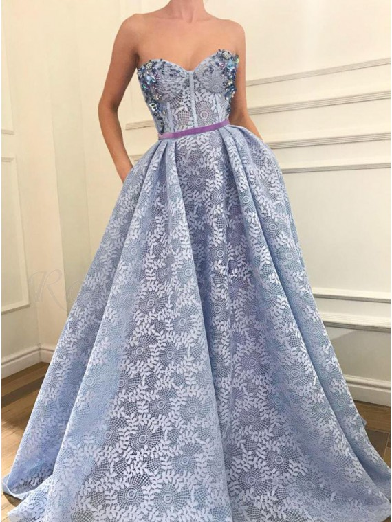 A-Line Sweetheart Light Blue Lace Prom Dress with Pockets Beading
