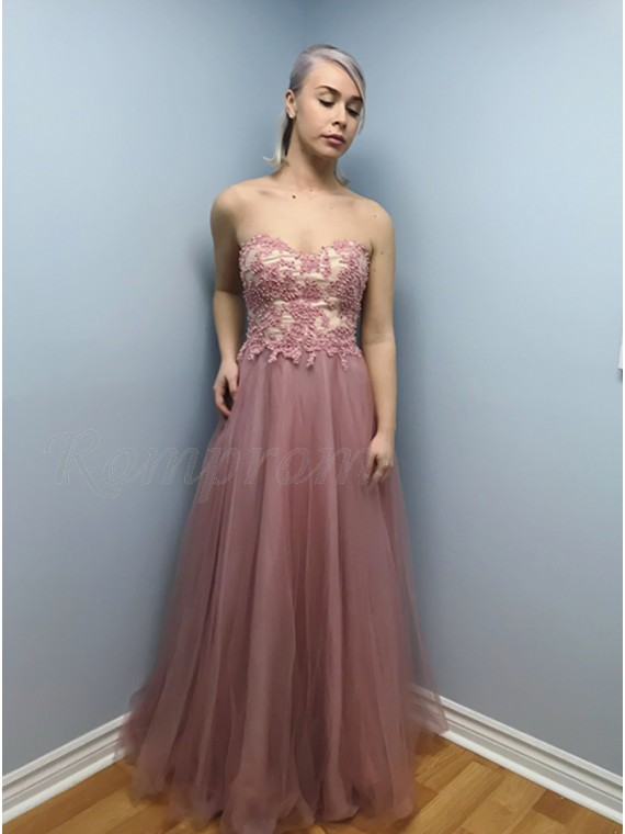 A-Line Sweetheart Lace-Up Blush Prom Dress with Appliques Beading
