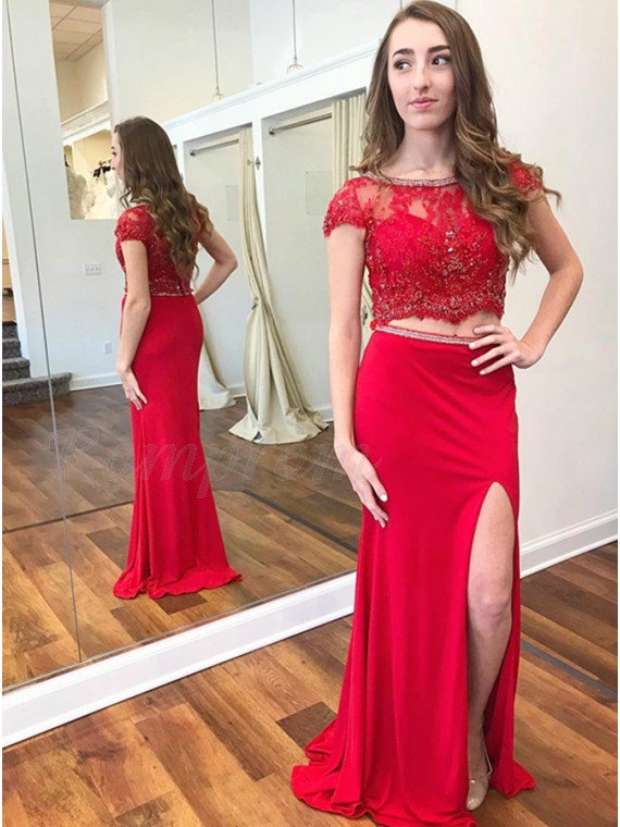 Two Piece Bateau Cap Sleeves Red Prom Dress with Beading Split