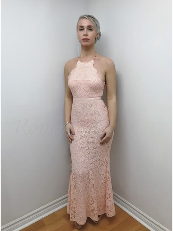 Mermaid Crew Criss-Cross Straps Floor-Length Pink Lace Prom Dress