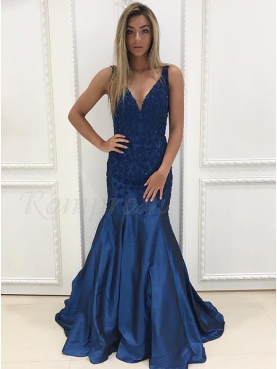 Mermaid V-Neck Floor-Length Dark Blue Prom Dress with Beading