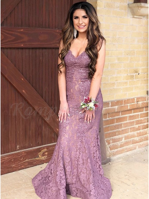 Mermaid V-Neck Floor-Length Lilac Lace Prom Dress with Beading