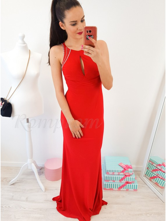 Mermaid Crew Open Back Floor-Length Red Prom Dress with Beading Keyhole