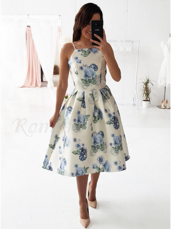 A-Line Spaghetti Straps Mid-Calf White Printed Homecoming Prom Dress with Pleats