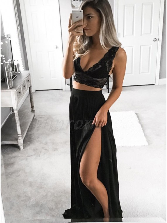 Two Piece V-Neck Floor-Length Black Chiffon Prom Dress with Lace Bodice