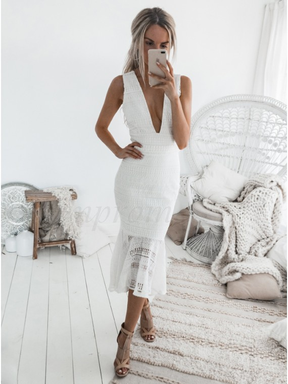 Mermaid Deep V-Neck Mid-Calf White Lace Homecoming Dress