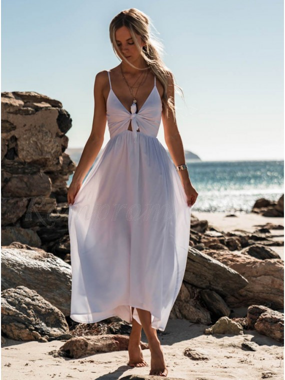 A-Line Spaghetti Straps Ankle-Length White Chiffon Prom Dress with Keyhole