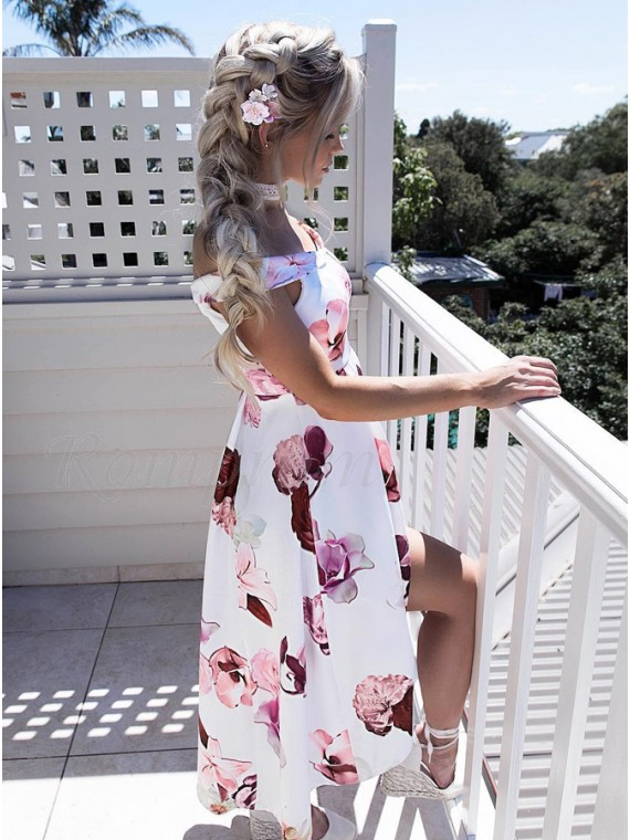 A-Line Off-the-Shoulder Floor-Length White Printed Prom Dress with Split