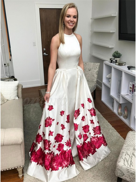 Mermaid Crew Sleeveless Sweep Train White Printed Detachable Prom Dress